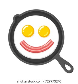 Funny smiling fried eggs and bacon in skillet. Breakfast food cartoon clip art illustration.