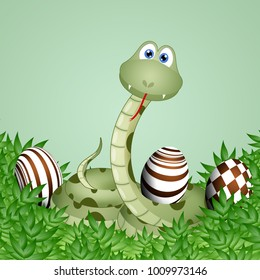 Funny snake with chocolate Easter eggs