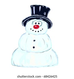 funny snowman with hat on white background - illustration