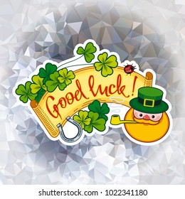 "Funny square label with shamrock, leprechaun and text ""Good luck!"". St. Patrick Day background."