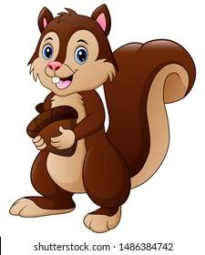 Funny squirrel cartoon holding a acorn illustration