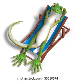 funny toon gecko. 3D render with clipping path and shadow over white