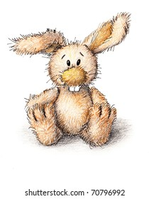 a funny toy bunny on white background