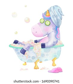 Funny unicorn takes bath watercolor illustration for print or postcard