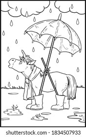 Funny unicorn under rain for coloring. Coloring page for horse lovers.