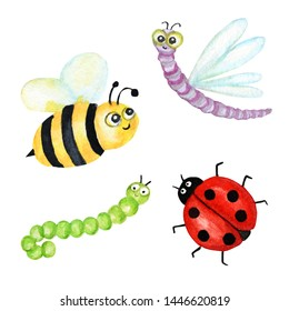 Funny watercolor, bright cartoon insects collection. Wasp, bee, bumblebee, worm, caterpillar, ladybug, dragonfly.