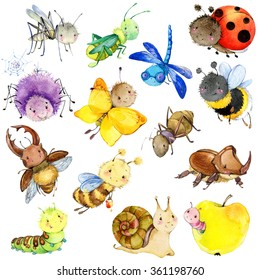 Funny , watercolor , cartoon insects collection. Wasp, bee, bumblebee, butterfly, worm, caterpillar, beetle, ladybug, grasshopper, mosquito, dragonfly, spider, snail, ant.