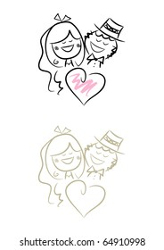 Funny Wedding Couple: Cute illustration of bride and bridegroom (two color versions included)