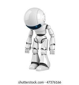 Funny white robot stay broken