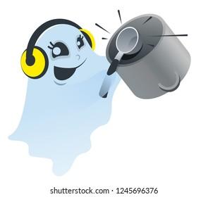 Funny white spook knocking ladle on pan. Isolated illustration