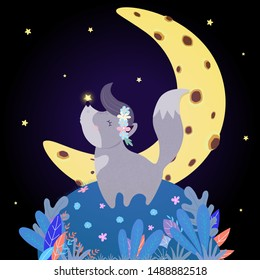 Funny Wolf Howl at Moon. Funny Kawaii Baby Wolfling Cub in Flower Wreath with Glowing Star on Nose Stand on Field with Plants under Starry Sky Howling at Night Time, Cartoon Flat  Illustration