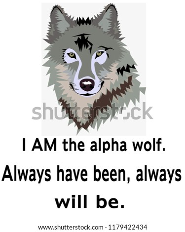 Funny Wolf Quote Illustration Hand Drawn Stock Illustration