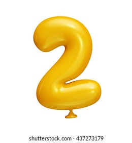 Funny yellow balloon alphabet isolated on white background. 3D illustration. Number 2