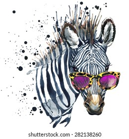 Funny zebra  T-shirt graphics, Funny zebra illustration with splash watercolor textured background. illustration watercolor Funny zebra fashion print, poster for textiles, fashion design