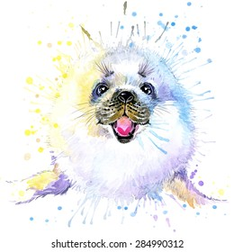 fur seal T-shirt graphics, fur seal illustration with splash watercolor textured background. illustration watercolor fur seal for fashion print, poster for textiles, fashion design