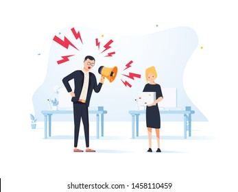 Furious businessman shout at employee, mad male boss scream at guilty intern, blaming for mistake, CEO accuse worker in company failure or bad results. Modern style design illustrations