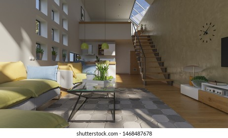 Furnished Open Plan House Interior with a Mezzanine in Natural Daylight 3D Rendering