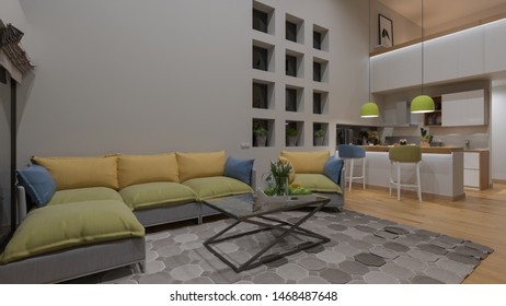 Furnished Open Plan Kitchen and Lounge with a Mezzanine in the Nighttime 3D Rendering