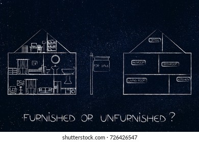 furnished or unfurnished concept: 2 different houses for sale representing the 2 options