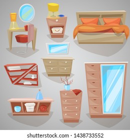 Furniture in bedroom furnishings design of bed with bedding or bedclothes in furnished bedside interior of apartment and to furnish decorate room set illustration isolated on background
