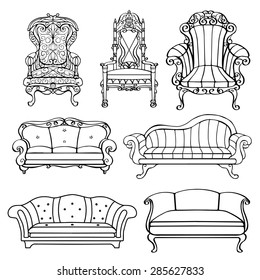 Furniture Chair Armchair Throne Sofa Couch Stock Illustration