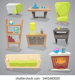Furniture furnishings design of couch and sofa in furnished interior or armchair with chair for decoration in apartment or to furnish room set illustration isolated on background