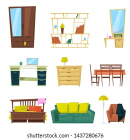 Furniture furnishings design of sofa couch and bed in furnished interior or armchair and chair for decoration in apartment or to furnish room set illustration isolated on white background
