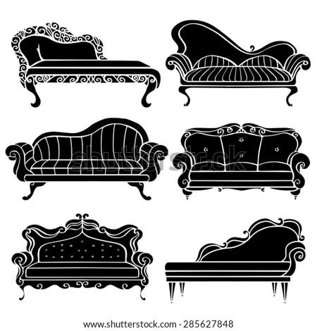 Furniture Hand Drawn Set Vintage Sofa Stock Illustration 285627848