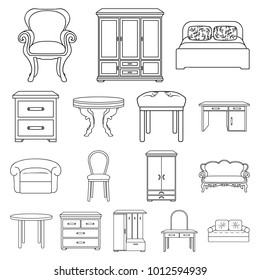 Furniture and interior outline icons in set collection for design.Home furniture bitmap symbol stock web illustration.
