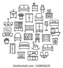 Furniture linear icons sale banner. Room modern interior indoor set illustration in circle