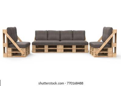 Furniture from pallets 3d render