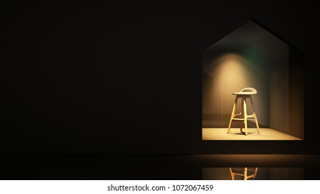Furniture shop 3d rendering black background - Triangle space minimal japanese