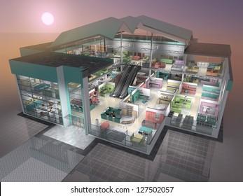 Furniture shop inside. 3D visualisation.