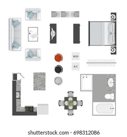 Furniture top view icons floor plan elements collection