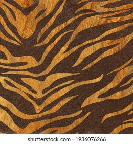 Furry background with tiger skin print