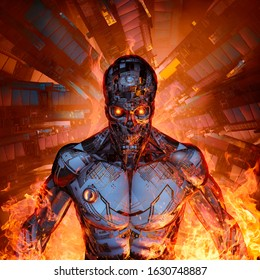 Fury of the machine / 3D illustration of scary futuristic science fiction skull faced humanoid cyborg emerging from burning space ship