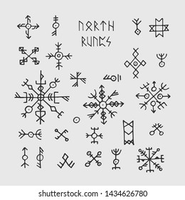 Futhark norse viking runes and talismans. Nordic pagan occult symbols for tattoo. Scandinavian gothic magic runic illustration
