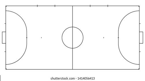 Futsal or mini football line court. Markup for game of futsal or mini football. Line illustration.
