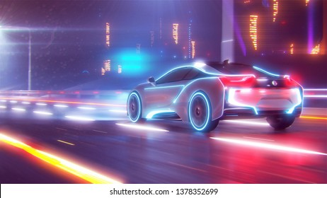 Future car going on the road 3d illustration