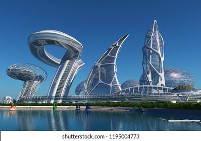 Future City in the sea.3d render