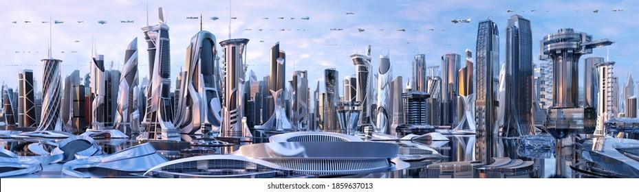 Künftige Stadt Skyline Panorama 3D-Szene. Futuristische cityscape Creative Concept Illustration: Wolkenkratzer, Türme, hohe Gebäude, fliegende Fahrzeuge. Panoramasicht auf die Stadt Megapolis, Himmelshintergrund