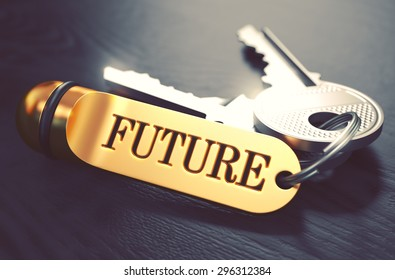 Future Concept. Keys with Golden Keyring on Black Wooden Table. Closeup View, Selective Focus, 3D Render. Toned Image.