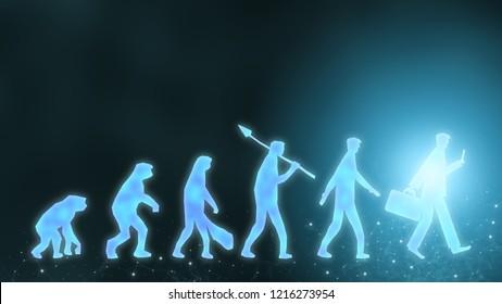 Future evolution change of human resources employee work labor recruitment to iot ai robot computer, technology transform replace human job. Digital innovation generation disrupt businessman concept