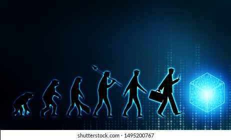 Future evolution of man change employee work labor to internet of things ai robot computer, technology transform to replace human. Digital innovation generation disrupt businessman job people life