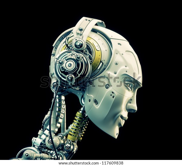 Future handsome man with headphones in profile. 3d render / Stylish robot listening music