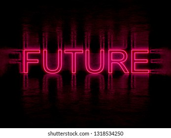 future lettering in neon art style 3d illustration