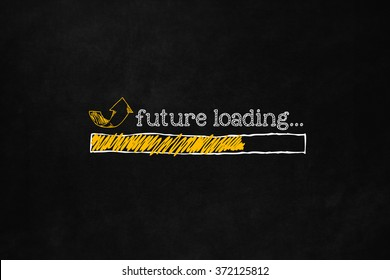 Future loading concept with copyspace, suitable for career, self improvement, motivation. Progress bar loading future for personal growth or business improvement. Incoming future hand drawn concept.