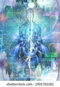Future Man. L'esprit émerge de l'espace numérique. Âme ou aura et code binaire. Rendu 3D