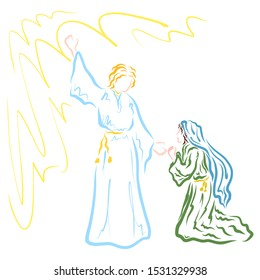 The future mother of the Savior learns from the angel about the will of God