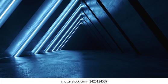 Future Neon Lights Triangle Sci Fi Retro Glowing Purple Blue Tunnel Corridor Hallway Club Underground Garage Gallery Virtual Reality Concrete Grunge Reflection 3D Rendering Illustration